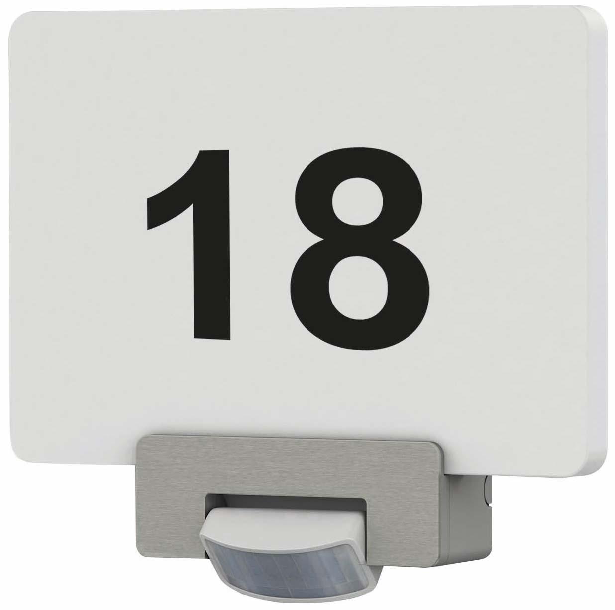 Hausnummernleuchte mit Bewegungsmelder incl, Zahlen-/Buchstabensatz, 2x 1W LED